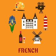 France cultural and historical symbols Stock Illustration