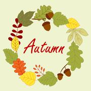 Season frame with autumn leaves - stock illustration