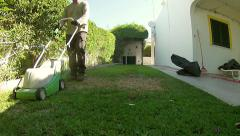 Home Gardening - Electric Mower Timelapse (Shot 3) - stock footage