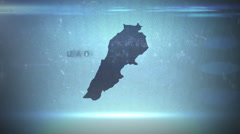 Stock Video Footage of Lebanon - Hitech Grunge Map Outline