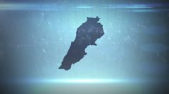 Stock Video Footage of Lebanon textless - Hitech Grunge Map Outline