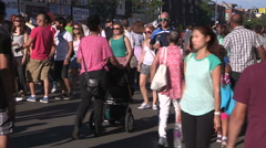 Toronto taste of the danforth 2015 crowds of people and Greek food cooking Stock Footage