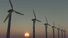 4k Windmill Turbines Clean At Sunrise,Green Wind Energy,new power. Stock Footage