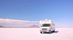 Driving motorhome on Bonneville Salt Flats Stock Footage