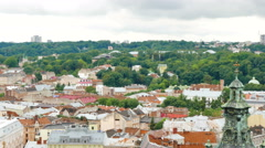 Buildings of  old European city Lviv in Ukraine  from above. Panorama in 4K 384 Stock Footage