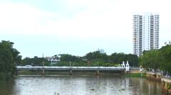 Nawarat bridge across ping river in chiangmai Thailand - stock footage