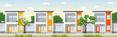 Modern Townhouse in the suburbs - stock illustration
