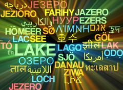 Stock Illustration of Lake multilanguage wordcloud background concept glowing