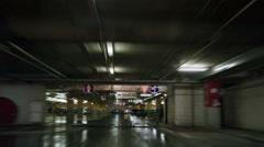Parking garage underground, industrial interior Stock Footage