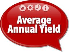Average Annual Yield Business term speech bubble illustration - stock illustration