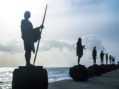 Guanches Kings Statues - stock photo