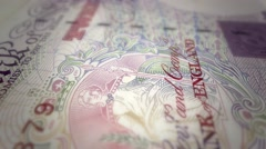 English pound sterling banknote cash currency - stock footage