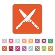 The crossed knives icon. Knife and chef, kitchen symbol. Flat - stock illustration