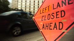 Left Lane Closed Construction Sign Stock Footage