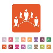The teamwork icon. Leadership and connection, business teams symbol. Flat Stock Illustration