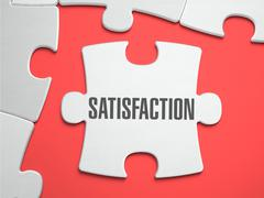 Satisfaction - Puzzle on the Place of Missing Pieces - stock illustration