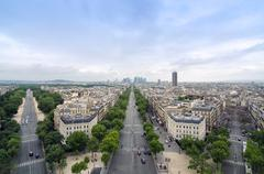 Champs Elysees to La Defense from the Arc de Triomphe in Paris - stock photo