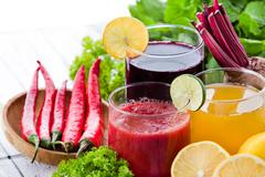 some healthy fresh juice with ingredients - stock photo