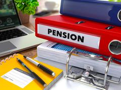 Red Ring Binder with Inscription Pension Stock Illustration