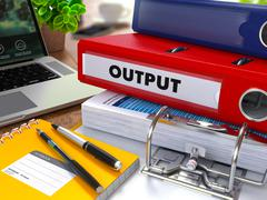 Stock Illustration of Red Ring Binder with Inscription Output