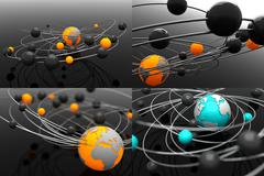 Model Atom with Globe - Set of 3D Illustrations Stock Illustration