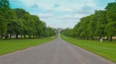 Long Walk park trees and Windsor Castle building, England Stock Footage