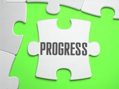 PROGRESS - Jigsaw Puzzle with Missing Pieces - stock illustration