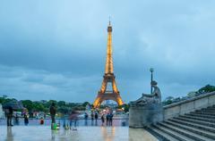 Eiffel Tower. View from Esplanade du Trocadero. Stock Photos