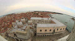 Aerial Skyline Panoramic View of Venice (Venezia) Stock Footage