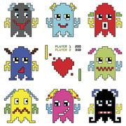 Pixelated robot emoticons 1 shooting  heart shape element inspired by 90's Stock Illustration