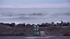 Wavebreakers at the Tohoku coast Stock Footage