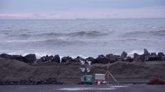 Wavebreakers at the Tohoku coast - stock footage