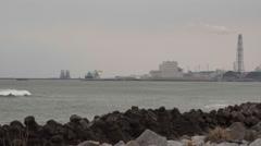 Power plant at Tohoku Coast - stock footage