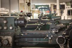 Old metal lathe machine Stock Photos