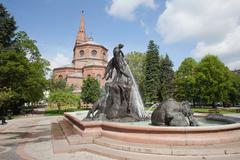 The Deluge Fountain in in Bydgoszcz Stock Photos