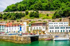 San Sebastian, old town and harbour. - stock photo