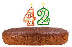 Birthday cake with candles number forty two Stock Photos