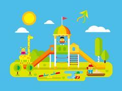 Childrens playground Stock Illustration