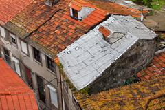 Tiled Roofs One With Foil Insulation Stock Photos