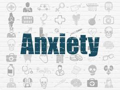 Stock Illustration of Healthcare concept: Anxiety on wall background