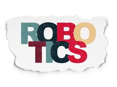 Science concept: Robotics on Torn Paper background Stock Illustration