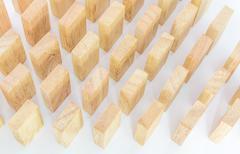 Row wooden domino - stock photo