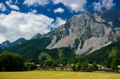The countryside around the town of Ramsau am Dachstein. - stock photo