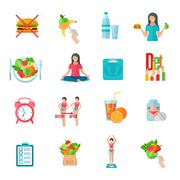 Weight loose diet flat icons set Stock Illustration