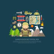 Tourism Concept Flat Stock Illustration