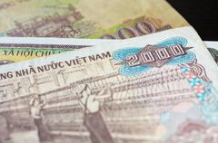 Banknote in two thousand Vietnamese dong close up Stock Photos