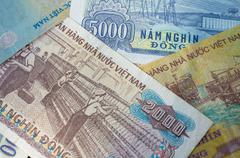 Background from banknotes. Vietnamese Dong Stock Photos
