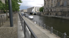 Boat anchored on Spree River in Berlin Stock Footage