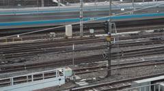 Railroad tracks in Ueno timelapse - stock footage