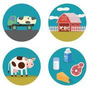Dairy products flat illustration - stock illustration